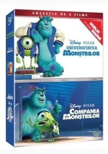 UNIVERSITATEA MONŞTRILOR + COMPANIA MONŞTRILOR / MONSTERS, INC & MONSTERS' UNIVERSITY BOX - DVD pachet